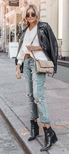 street style addiction biker jacket   sweater   bag   rips   boots