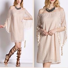 TRENDY Off the shoulder tassel lace dress Super trendy with lace, bell sleeves, tassels and bare shoulders. ALL IN ONE. Material: 60% cotton, 40% polyester. Lined. Available in small, medium, large. Please mention your size and I can create separate listing for you. Made in USA                                                                                     PRICE FIRM, NO TRADES Dresses