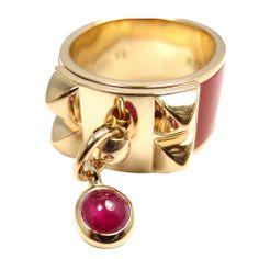 HERMES Collier De Chien Ruby Enamel Yellow Gold Ring