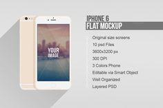 Flat iPhone 6 & 6 Plus Vector MockUp by Alex_Yanko on Creative Market