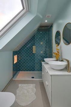 Loft Conversion Photo Gallery   Bedroom Inspiration – The Loft Room Attic Shower, Small Attic Bathroom, Upstairs Bathrooms, Small Shower Room, Shower Rooms, Loft Ensuite, Loft Bathroom, Loft Conversion Bedroom, Loft Conversion With Bathroom
