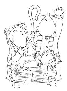 Free Dearie Dolls Digi Stamps: Nativity, playing at the Mousie Theatre this Christmas.