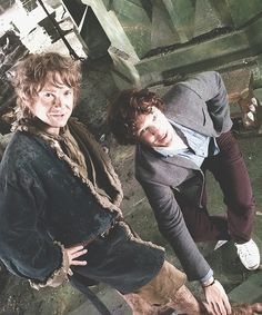 Leaving The Hobbit set. Bilbo & Smaug a.k.a. Sherlock Holmes and John Watson!