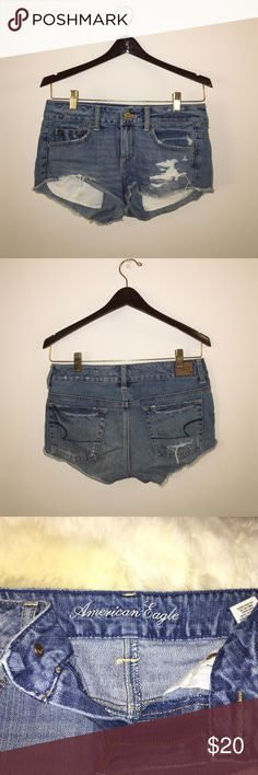 American Eagle Jean Shorts American Eagle cut off jean shorts. Size 2. They are definitely short, but such a good fit and very comfortable. Great condition, just too small for me now! American Eagle Outfitters Shorts Jean Shorts