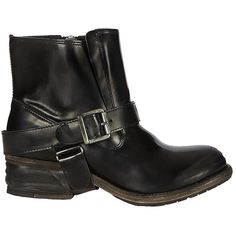 AllSaints Jules Biker Boot ($119) ❤ liked on Polyvore featuring shoes, boots, black, botas, chaussures, rustic jet, leather moto boots, buckle boots, engineer boots and leather buckle boots
