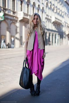 pink and neutrals and funky shoes/accessories.