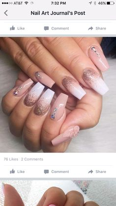 stylish dress before the New Year. There are new nail trends replaced by others year after year. Some nail designs give way to others and become less popular. Nails for New Years 2018 will be special too. We'll tell you about preferred colors, fashionable Rhinestone Nails, Bling Nails, My Nails, Glitter Nails, Fancy Nails, Pink Glitter, Nail With Rhinestones, Rhinestone Nail Designs, Jewel Nails
