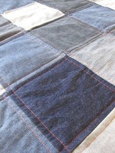 Tin Whistle: Moody Blues denim quilt (smooth/traditional quilting)
