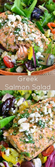 Greek Salmon Salad. This salad is made with fresh Garlic Lemon Basil Dressing and topped with succulent salmon that's been baked with lemon and herb marinade. (Baking Salmon With Veggies)