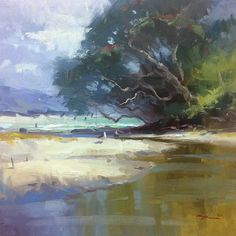 Richard Robinson Summer at the Cove Oil on Canvas 16 x 16""