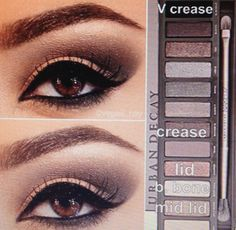 Steps for smokey brown eye shadow using the Urban Decay Naked Palette 2 1. Prime eye with urban decay primer potion and pat CHOPPER on lid 2. Blend out SNAKEBITE in crease and BOOTYCALL to brow bone  3. With an angled shading brush apply BLACKOUT to V crease and blend over SNAKEBITE to darken. Blend well 4. Apply HALF BAKED (gold) to middle of lid and slightly blend outward over CHOPPER to make lid pop 5. Apply Stilla ONYX pencil to waterline and smudge down slightly