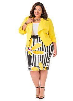 estampada - top en branco & blazer en amarelo