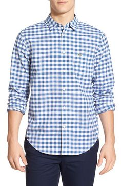 Lacoste Lacoste Gingham Long Sleeve Poplin Shirt available at #Nordstrom