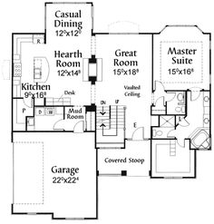 Country Style House Plans - 2366 Square Foot Home , 2 Story, 3 Bedroom and 2 Bath, 2 Garage Stalls by Monster House Plans - Plan Country Style House Plans, Cottage House Plans, Craftsman House Plans, Small House Plans, Cottage Homes, Farm House, Two Sided Fireplace, Double Sided Fireplace, Fireplace Ideas