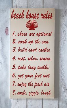 Beach House Rules - Beach Home Decor - Nautical Wall Art buy from Etsy