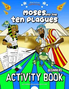 Moses and the Ten Plagues printable Bible Activity Book for Kids. Learn all about the Ten Plagues, the Passover, and Unleavened Bread. Joseph Activities, Bible Activities, Color Activities, Hands On Activities, Activity Books, Sabbath Activities, Preschool Bible, Bible Quiz, Bible Bible