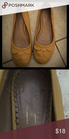 Anthropologie mustard flats 8.5 leather Leather mustard. Can't beat that. Well loved, now retiring because of a foot injury. Anthropologie Shoes Flats & Loafers