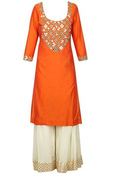 Orange mirror work yolk straight kurta set available only at Carma Online Shop.