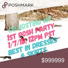 Help Me Celebrate My 1st Posh Party! So excited to co-host my 1st Party - Best in Dresses & Skirts.  Save the Date - 1/7/18, 12PM PST  Share and tag your PFF's with Posh Compliant closets for Host Picks!! Dresses