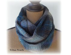 Infinity scarf  blue and gray flannel  loop scarf  by UrbanScarfs