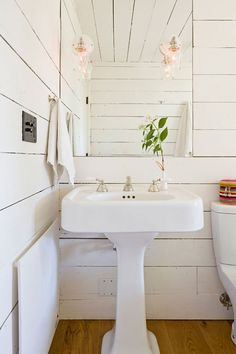 sconces in frameless mirror Tiny House – Jessica Helgerson Interior Design