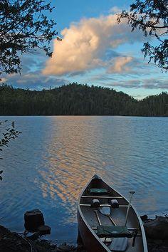 canoeing at twilight
