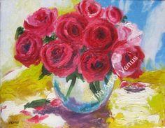 Original Painting Art Print RED ROSES Still Life Impressionism Flowers Wall Art #Impressionism