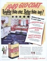 Johnsons Glo-Coat Wax 1949 Ad. A Self Polishing Wax for Floors. Glamorizes all kindsof floors... linoleum, rubber tile, asphalt tile, varnished wood. Enjoy radios brightest half hour: Fibber McGee & Molly, NBC. Outsells any other floor polish more than 2 to 1. S. C. Johnson & Son, Inc.