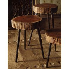 """Terra Stools    Designed by Roost    Available in three sizes, these one-of-a-kind stools have an acacia wood top and hand-forged iron legs. Currently only available in our Portland store. To order and get info on our current stock, email info@shopredsail.com.     Dimensions: Sizes are approximate as each wood cut is unique. Small: 11"""" dia x 14"""" h, Medium: 13"""" dia x 18.5"""" h, Large: 15"""" dia x 22"""" h    Price: Small $145. Medium $165, Large $185    $0.00"""