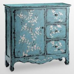 reclaimed wood cupboard, rustic antique blue with hand painted flowers. Love this!