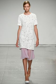 Rebecca Taylor | Spring 2015 Ready-to-Wear | 11 White  floral short sleeve tunic and pink pleated midi skirt