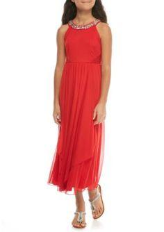 40a2a3504f9e Sequin Hearts Girls Sleeveless Maxi Jewel Neckline Dress Girls 7-16 - Red -  8