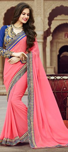Buy Now : Rs. 3,450 /- http://www.indianweddingsaree.com/product/180274.html   Pink and Majenta color family #EmbroideredSarees, #Party #Wear #Sarees with matching unstitched blouse.