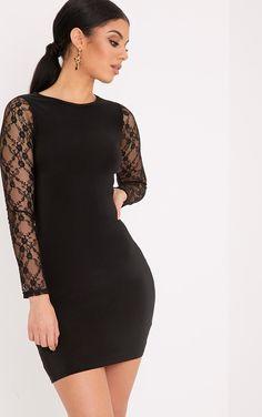 £ 15,00  MADISON BLACK LACE LONG SLEEVE SLINKY BODYCON DRESS