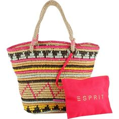 Lässige #Handtasche von #Esprit. Die #Tasche hat eine coole #Strohoptik und ein super #Muster. Ein echter #Hingucker. ♥ ab 59,99 € Jute, Marken Logo, Shopper, Cloth Bags, Logos, Straw Bag, Stuff To Buy, Outfits, Fashion