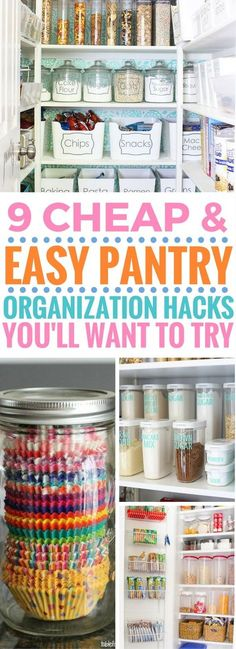 These pantry organization ideas are driving me crazy in a GOOD way! It's so worth trying especially the dollar store ones are amazing! You can organize your pantry for cheap and fast as well as keep it organized!