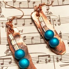 handmade, hand forged, hammered copper, earrings