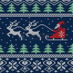 Christmas and New Year knitted seamless pattern or card with Santa in sleigh and… – knitting charts Fair Isle Knitting Patterns, Knitting Charts, Weaving Patterns, Knitting Stitches, Knit Patterns, Free Knitting, Cross Stitch Patterns, Sock Knitting, Vintage Knitting
