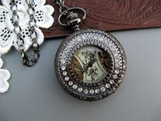 1882's Black Mechanical Pocket Watch Necklace  by ArtInspiredGifts