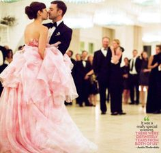 Jessica Biel Justin Timberlake Wedding Their First Dance Don T You Just Loved That Chose A Pink Dress Her Gown Is By Giambattista