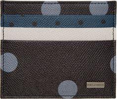 Dolce & Gabbana Blue & Black Polka Dot Card Holder