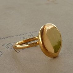 Gold ring 24K Eco friendly ring Gold platled Sterling by anakim, $126.00