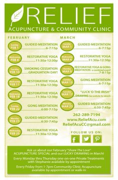 Relief Acupuncture Events (March/April)