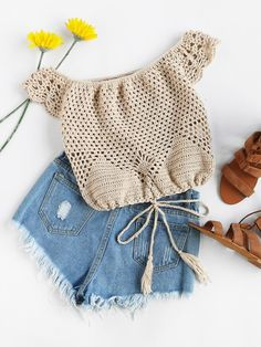 Off Shoulder Tasseled Drawstring Hem Hollow Out Crochet Top Crochet Bandeau Tops, Crochet Bikini Top, Crochet Top, Latest Top Designs, Crop Top Designs, Crochet Poncho, Baby Sweaters, Little Girl Dresses, Beautiful Crochet