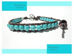 Bracelet for Summer Tourquoise and brown leather. by PathosJewelry, €25.00