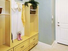 Mudroom cabinets can help store outdoor gear out of sight.
