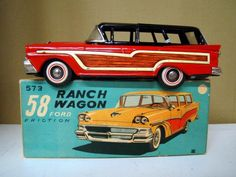 1958 Ford Ranch Wagon Friction Power Tin Toy w/Box Antique Toys, Vintage Toys, Vintage Antiques, Metal Toys, Tin Toys, Ford, Diecast Model Cars, Toy Trucks, Classic Toys