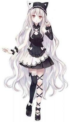 Manga girl - white hair - gothic - neko hat Tap the link Now - The B . Manga girl – white hair – gothic – neko hat Tap the link Now – The Best Cat Products We Found Worldwide! Anime Neko, Kawaii Anime Girl, Manga Kawaii, Anime Girl Cute, Beautiful Anime Girl, Chica Anime Manga, Anime Love, Anime Girls, Cute Neko Girl