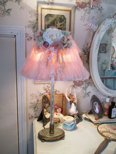 shabby chic lace pink roses lamp shade by TheGirlyCottage on Etsy