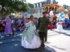 Tiana and Naveen walkin' right down the middle of Main Street U.S.A.